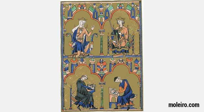 Pasta com 2 lâminas da Bíblia de São Luís: Rainha Blanca de Castela e São Luís 2 lâminas quase-originais