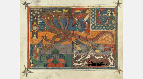 The Silos Beatus ff. 147v-148r, The battle between the serpent and the Son of the Woman