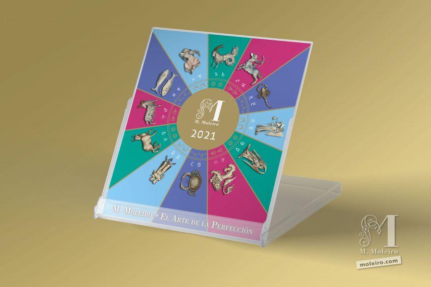 Moleiro Calendar 2021 CD desk calendar (12 pages of 14x12 cm)