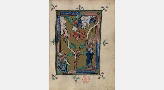 Carpeta con 5 láminas del Apocalipsis 1313 Ángel de pie sobre la tierra y el mar, f. 29r