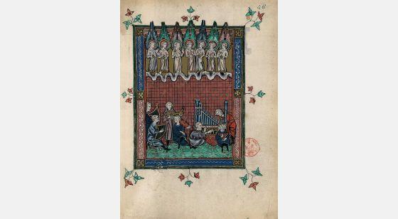 Carpeta con 5 láminas del Apocalipsis 1313 El mar de cristal, f. 46r