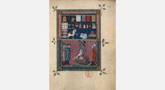 Carpeta con 5 láminas del Apocalipsis 1313 Lamentaciones por Babilonia, f. 62r