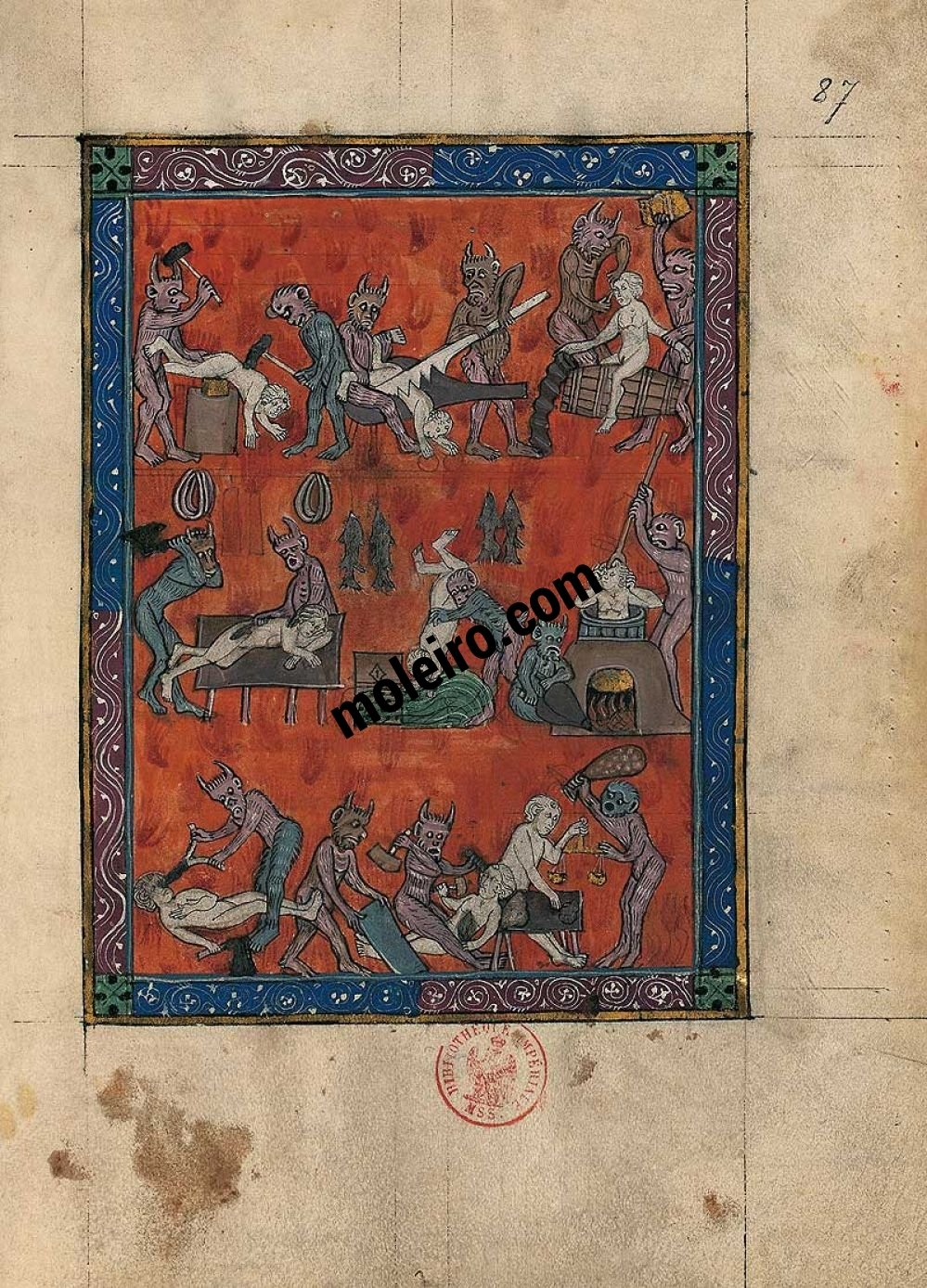 Folder of 5 prints from the Apocalypse of 1313 The Hell of trades, f. 87r