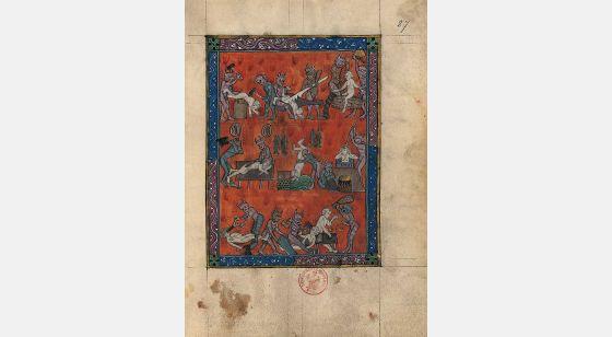 Carpeta con 5 láminas del Apocalipsis 1313 Castigos en el Infierno, f. 87r