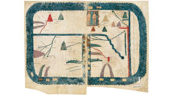 Lámina del Mapamundi del Beato de Liébana, códice de Girona