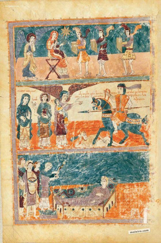 Carpeta con 5 láminas del Beato de Liébana, códice de Girona Ciclo de la infancia de Cristo, f. 15v