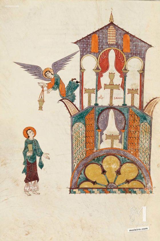 Carpeta con 5 láminas del Beato de Liébana, códice de Girona Mensaje a la iglesia de Sardes, f. 89v