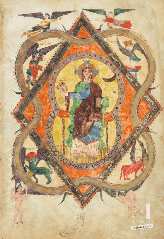 Carpeta con 5 láminas del Beato de Liébana, códice de Girona Pantocrator, f. 2r