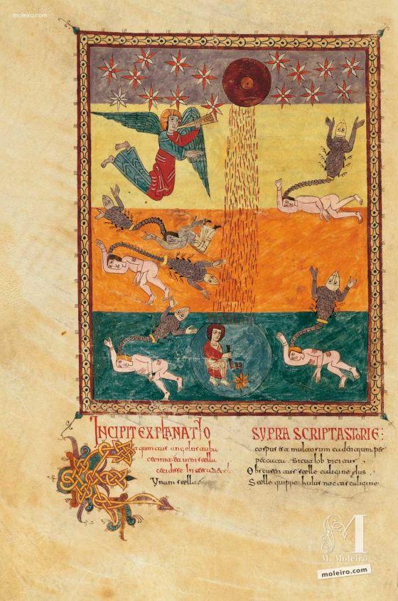 Carpeta con 5 láminas del Beato de Liébana, códice de Girona La quinta trompeta, f. 154v