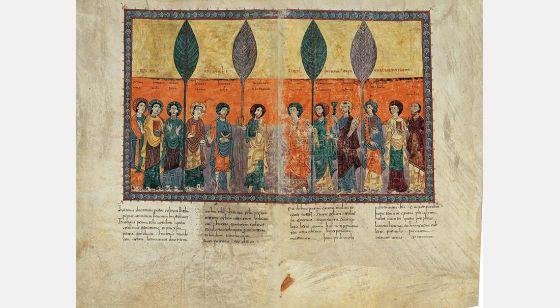 Lámina de los doce apóstoles, perteneciente al Beato de Girona
