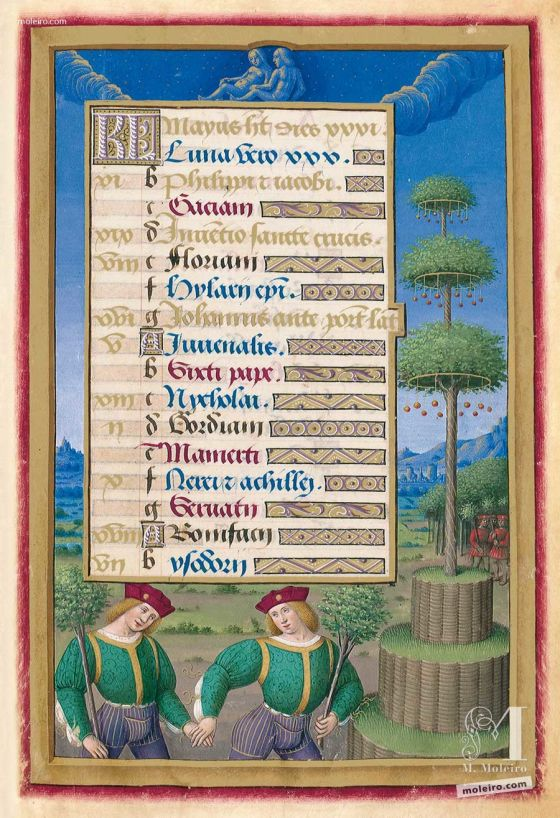 Folder of 5 prints from the Great Hours of Anne of Brittany f. 8r,  May