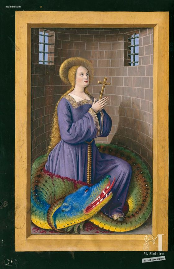 Folder of 5 prints from the Great Hours of Anne of Brittany f. 205v, St  Margaret and the dragon