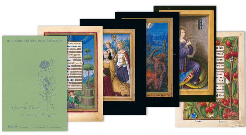 Folder of 5 prints from the Great Hours of Anne of Brittany 5 identical illuminations