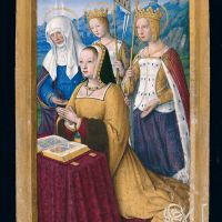 Anne of Brittany at prayer presented by three female saints, f. 3r