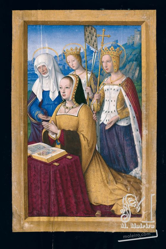 Great Hours of Anne of Brittany Anne of Brittany at prayer presented by three female saints, f. 3r
