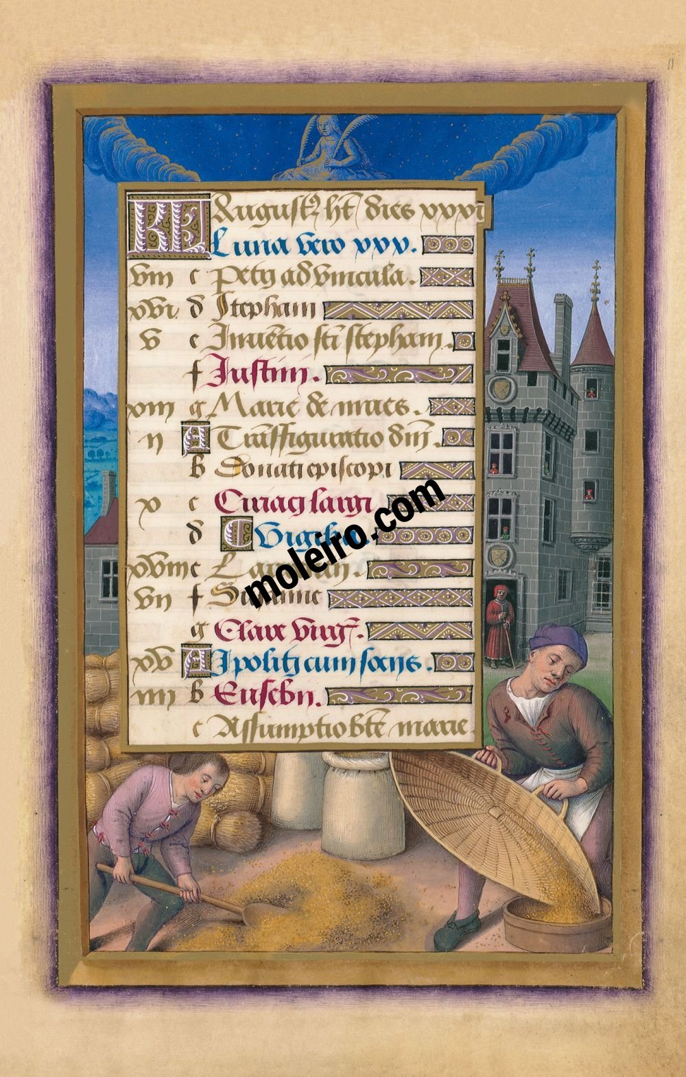 Great Hours of Anne of Brittany The Calendar: August, f. 11r