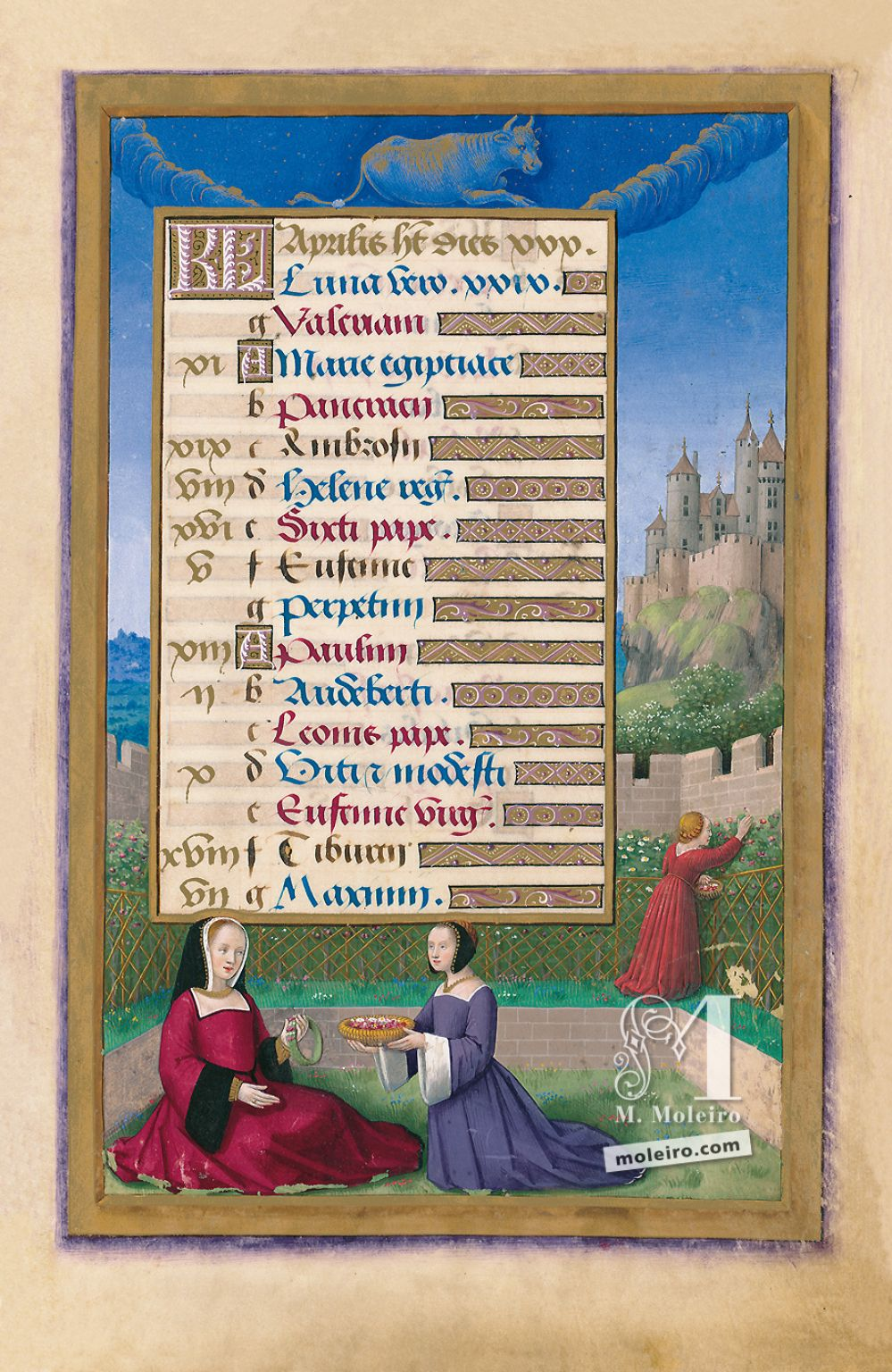 Great Hours of Anne of Brittany The Calendar: April, f. 7r