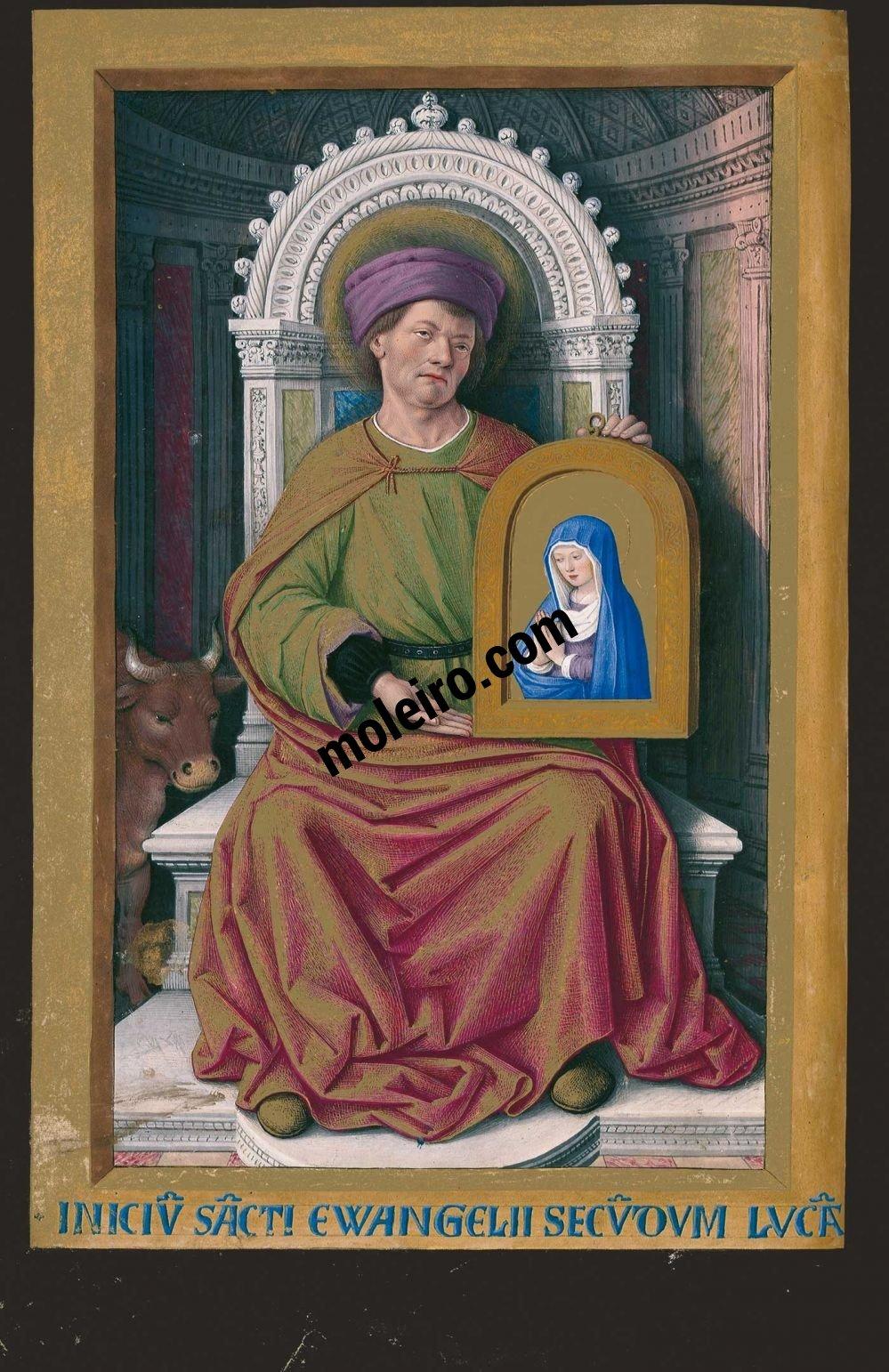 Las Grandes Horas de Ana de Bretaña f. 19v, San Lucas presentando el retrato de la Virgen