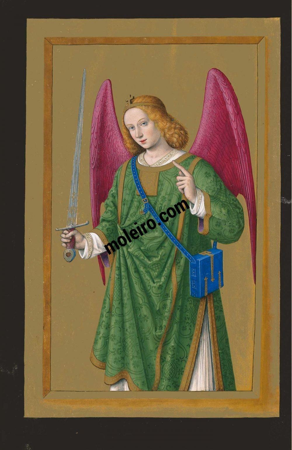 Die Grandes Heures der Anna von der Bretagne f. 165v, Der Erzengel Raphael