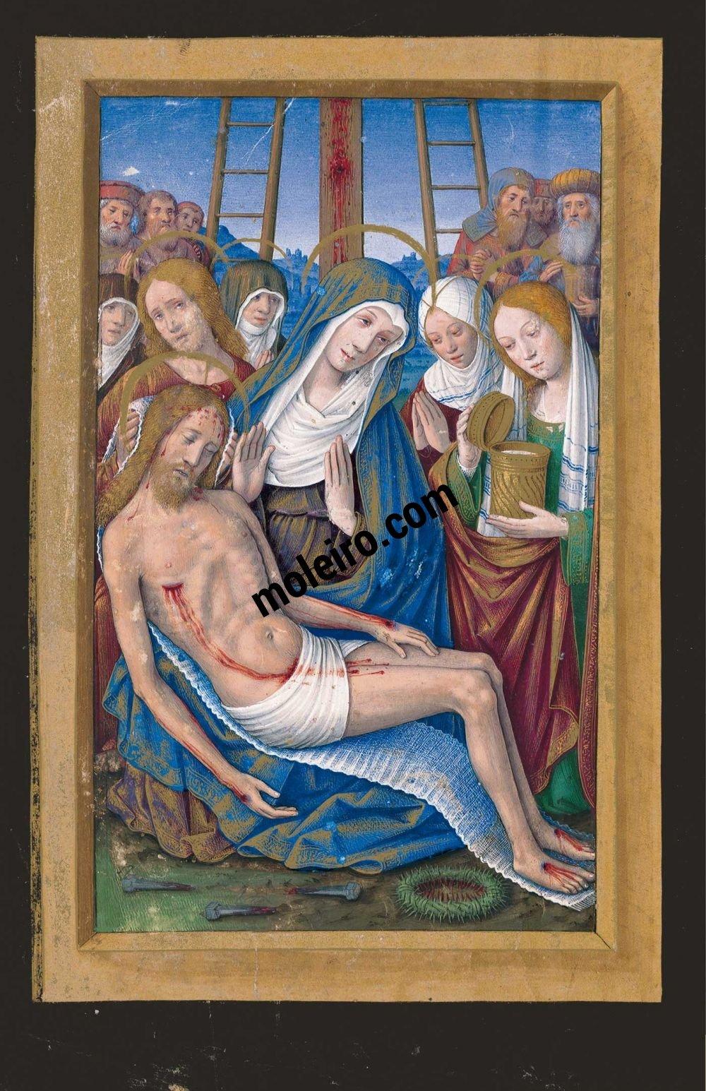 Die Grandes Heures der Anna von der Bretagne f. 2v, Das Beklagen des Leichnams Christi