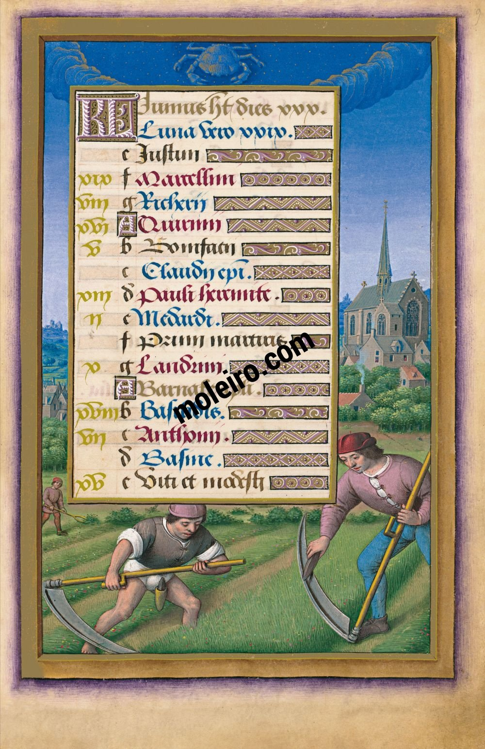Great Hours of Anne of Brittany The Calendar: June, f. 9