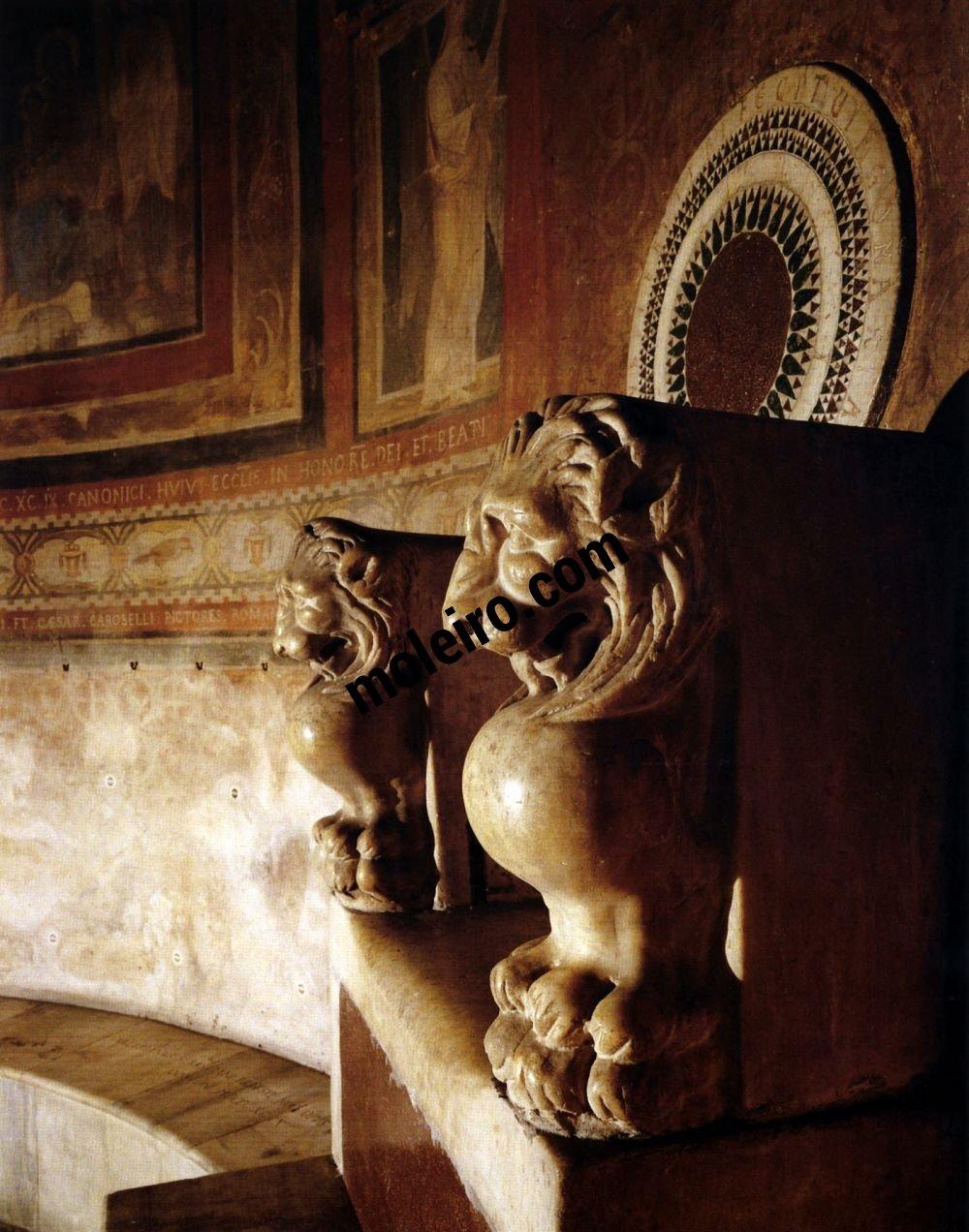 Iglesias de Roma Santa María in Cosmedin, trono pontificio, detalle, siglo VI.