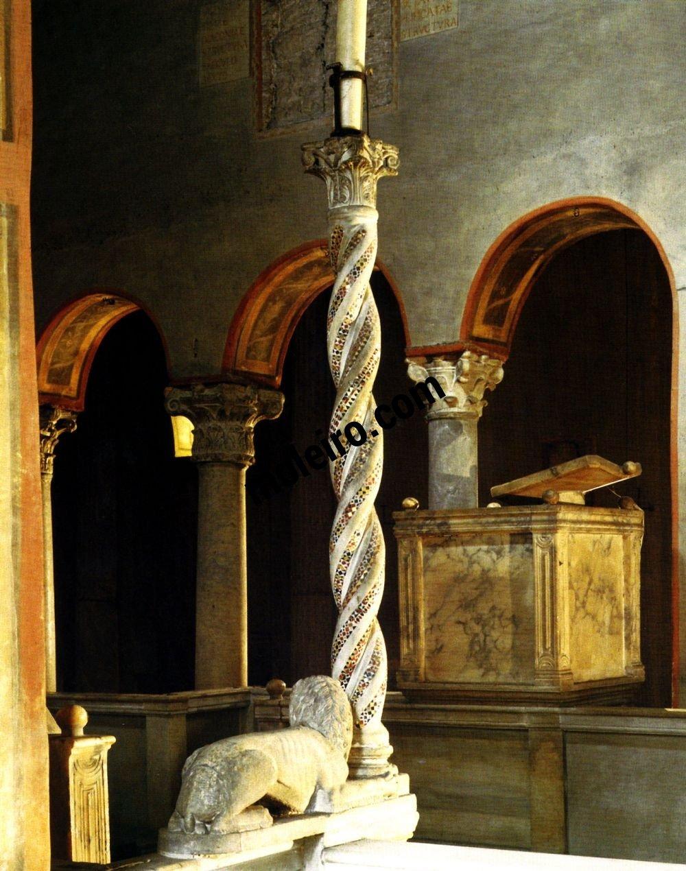 Iglesias de Roma Santa María in Cosmedin, candelabro de cirio pascual, detalle, siglo VI