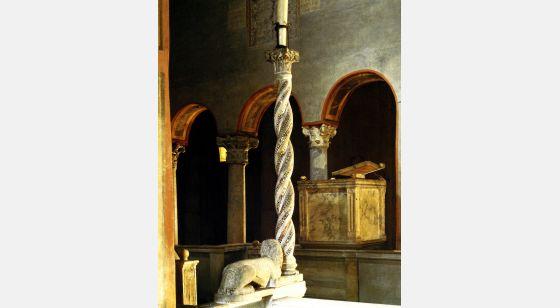 Iglesias de Roma Santa María in Cosmedin, candélabre de cierge pascal, détail, Vième siècle.