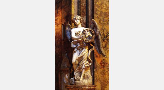 Iglesias de Roma Sant'Andrea  delle Fratte, ángel esculpido por Bernini, siglo XVII.
