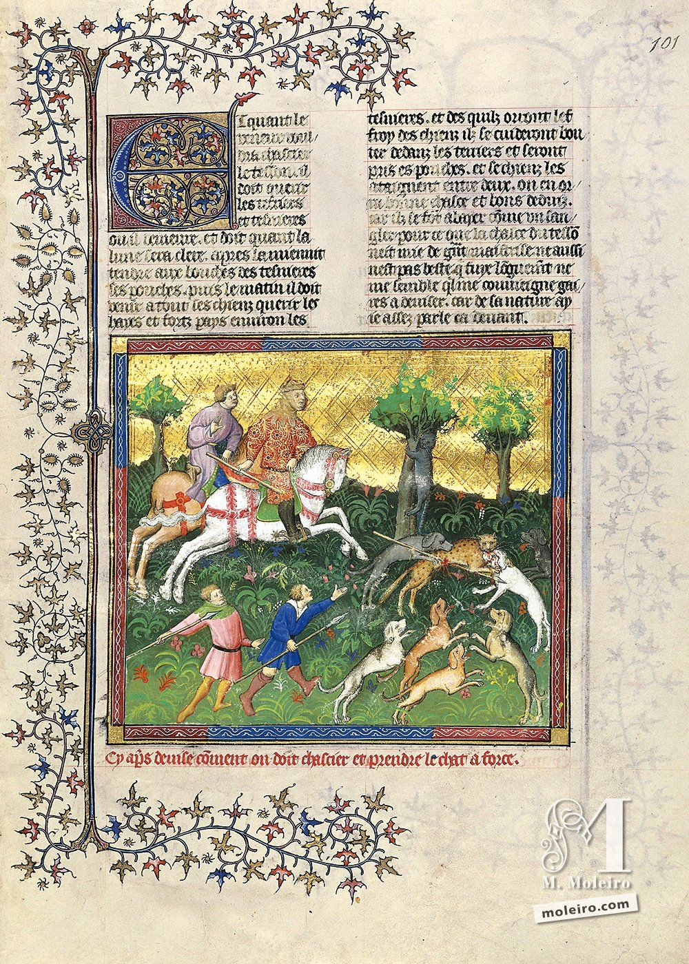 On how one should hunt and take down the cat by force - 101r. Livre de la Chasse, by Gaston Fébus (Français 616, Paris, early 15th c.) Bibliothèque nationale de France, Paris BnF