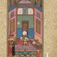 f. 7v, Sultan Murad III Marvels at the Manuscript