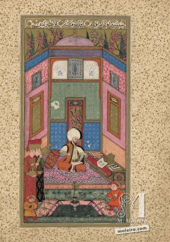 The Book of Felicity f. 7v, Sultan Murad III Marvels at the Manuscript