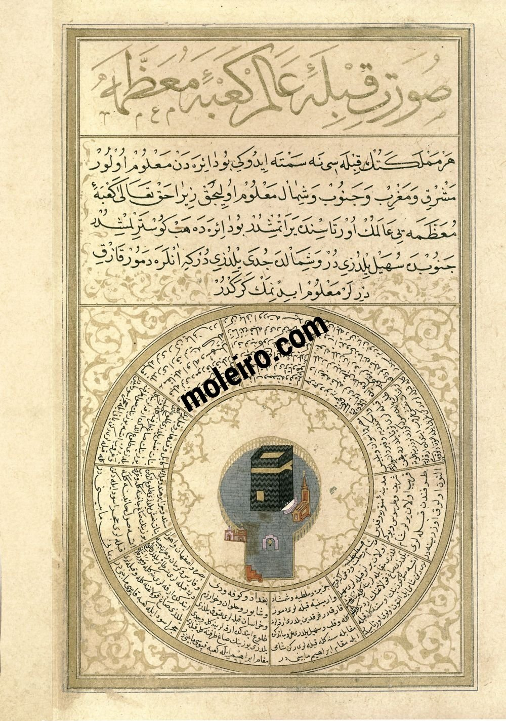 The Book of Felicity f. 74v, The Image of the Qibla of the World, the Majestic Kacba