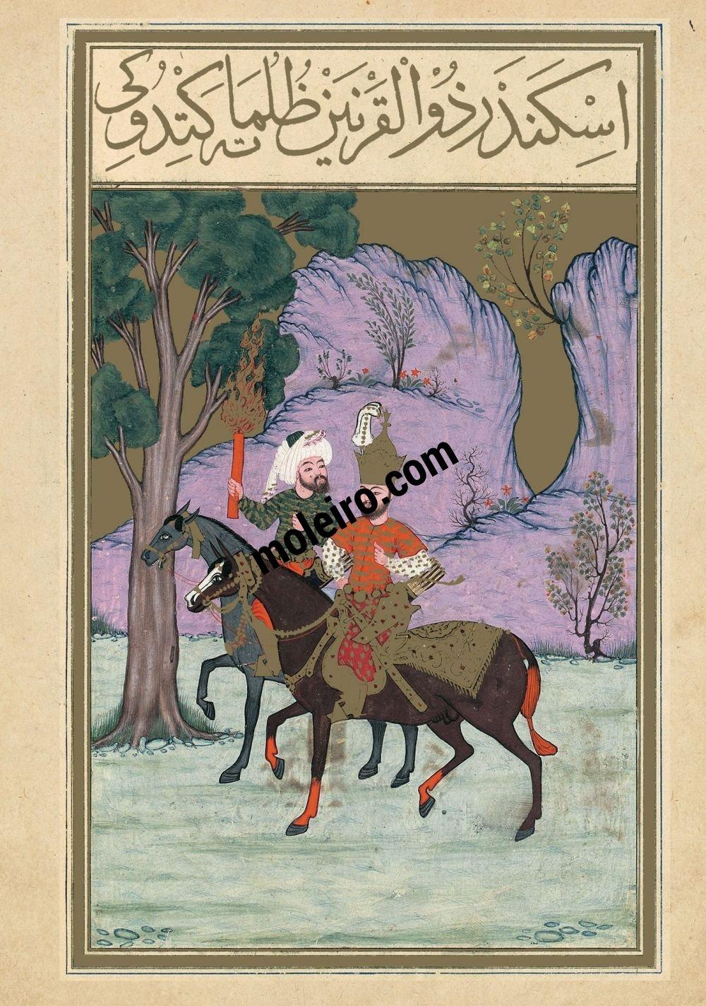 Le Livre du Bonheur f. 75v, Alexandre et Khidr pénètrent dans le Pays des Ténèbres