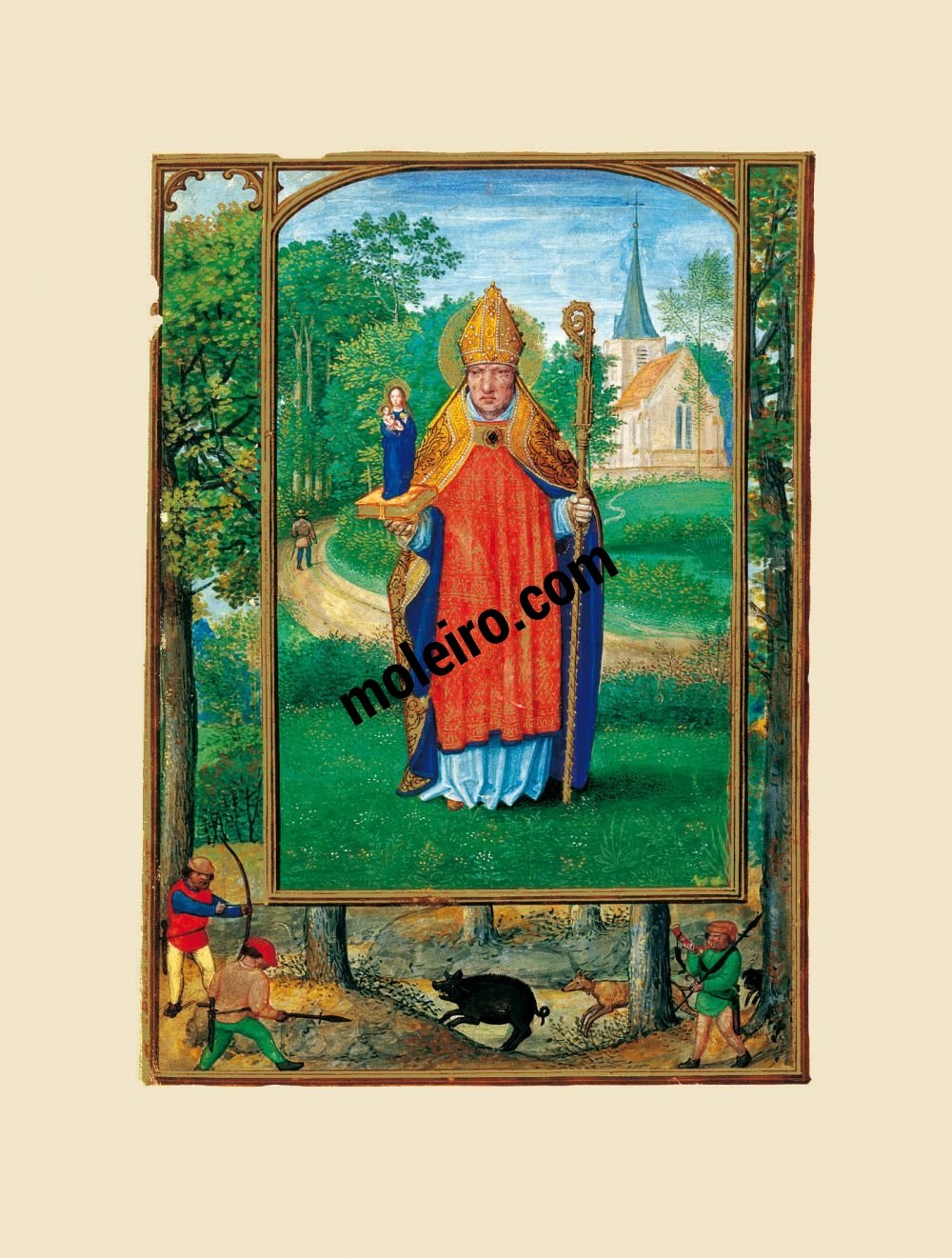 The Golf Book (Book of Hours) f. 1r, Portrait of a bishop