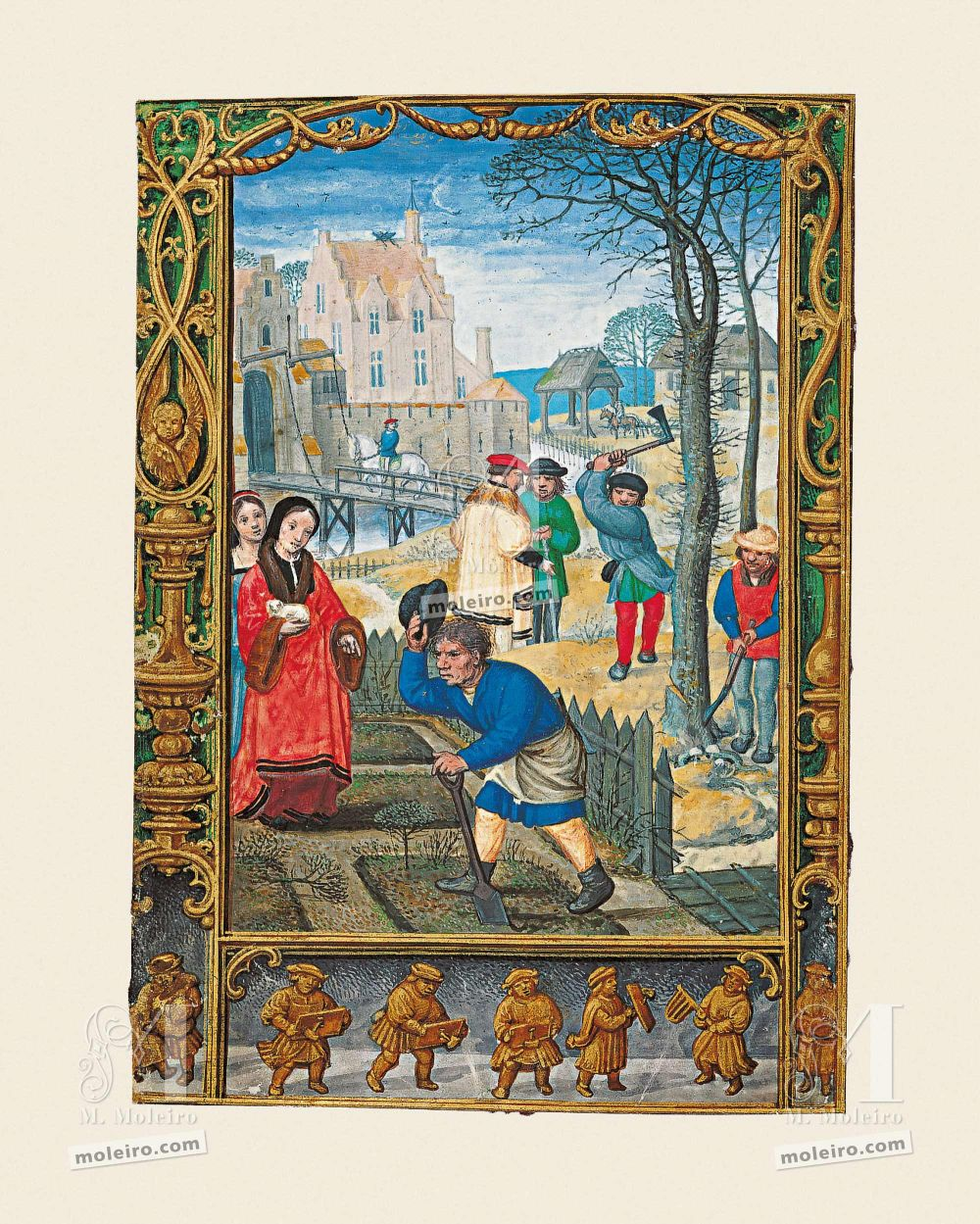 The Golf Book (Book of Hours) f. 20v, March, city scene