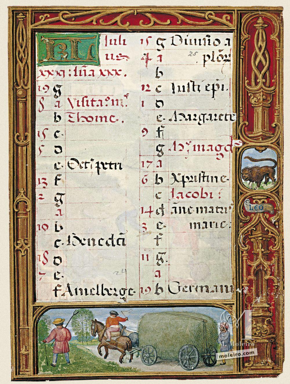 The Golf Book (Book of Hours) f. 25r, calendar, July