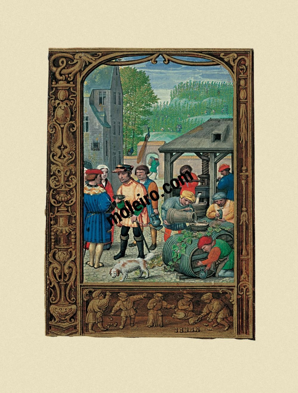 The Golf Book (Book of Hours) f. 27v, October, grape harvest feast