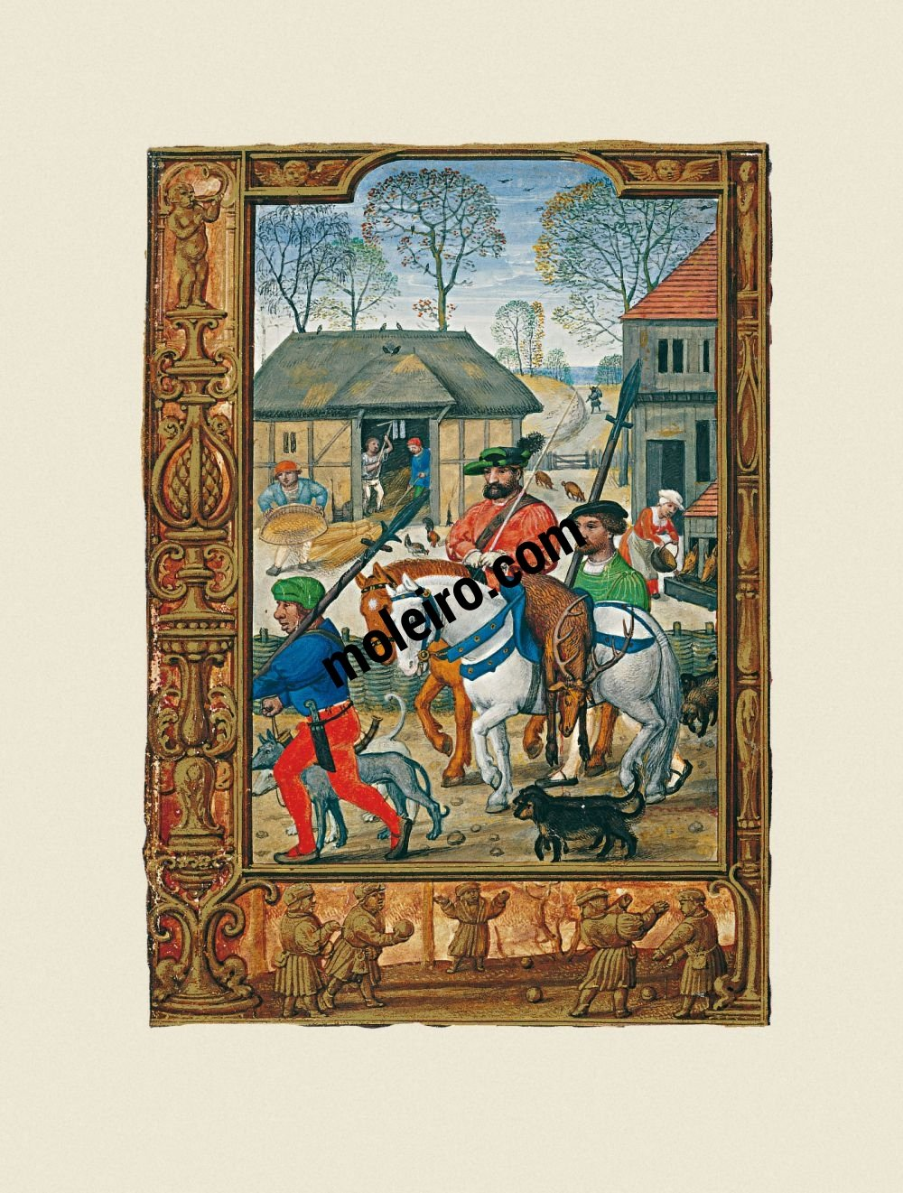 The Golf Book (Book of Hours) f. 28v, November, hunting