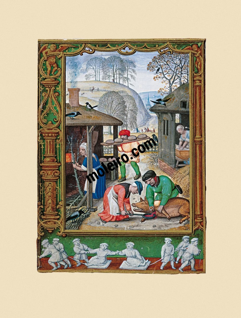 Le Livre du Golf (Livre d´Heures) f. 29v, décembre, l'abattage du porc
