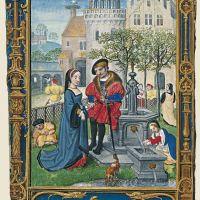 f. 21v, Abril, el cortejo en el jardín