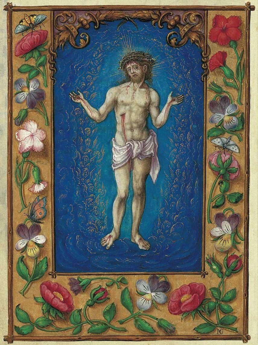 Print: the Man of Sorrows from the Prayer Book of Albert of Brandenburg 1 identical illumination