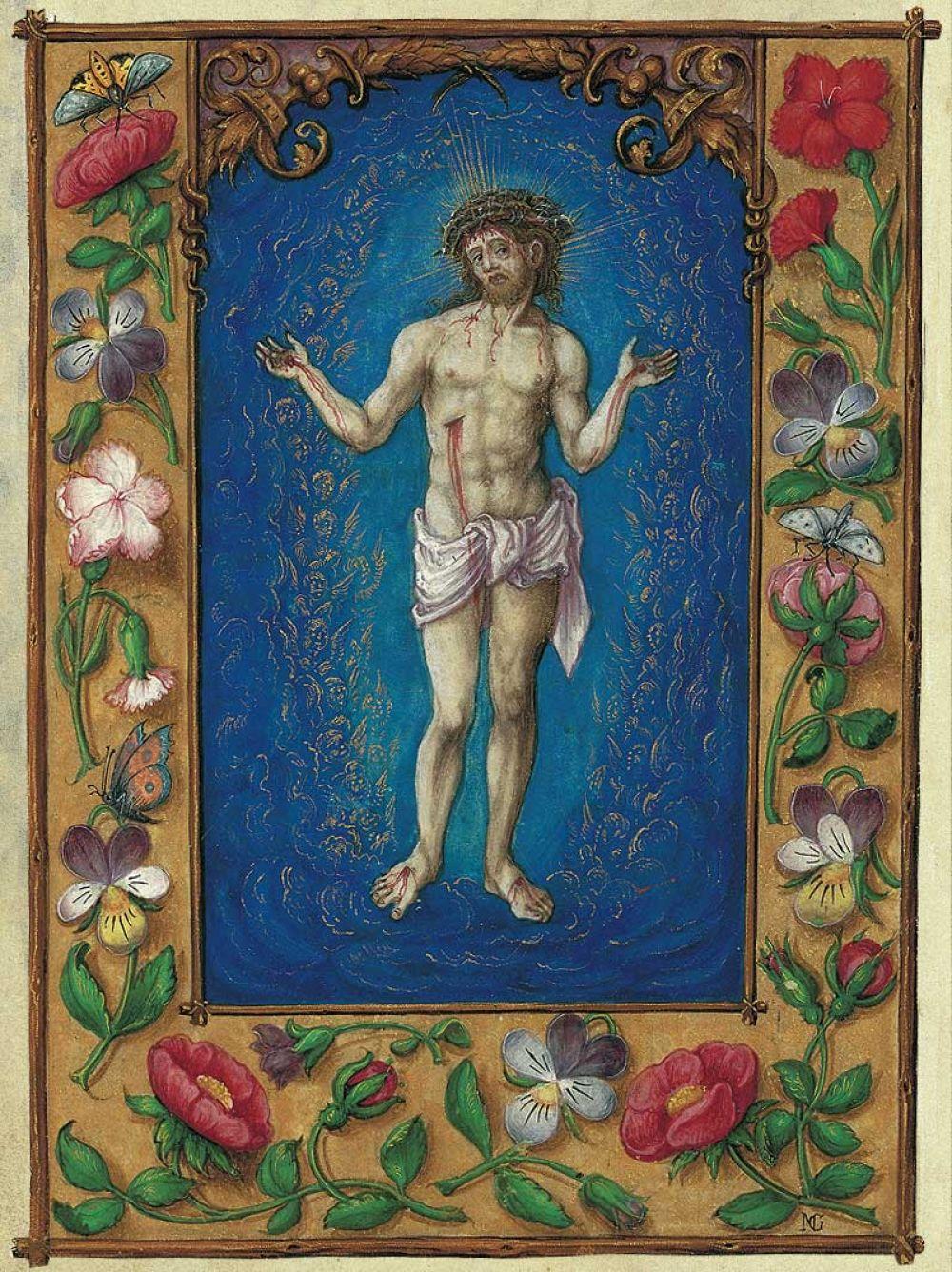 Lámina del Varón de Dolores del Libro de Oración de Alberto de Brandemburgo Varón de los Dolores, f. 76r