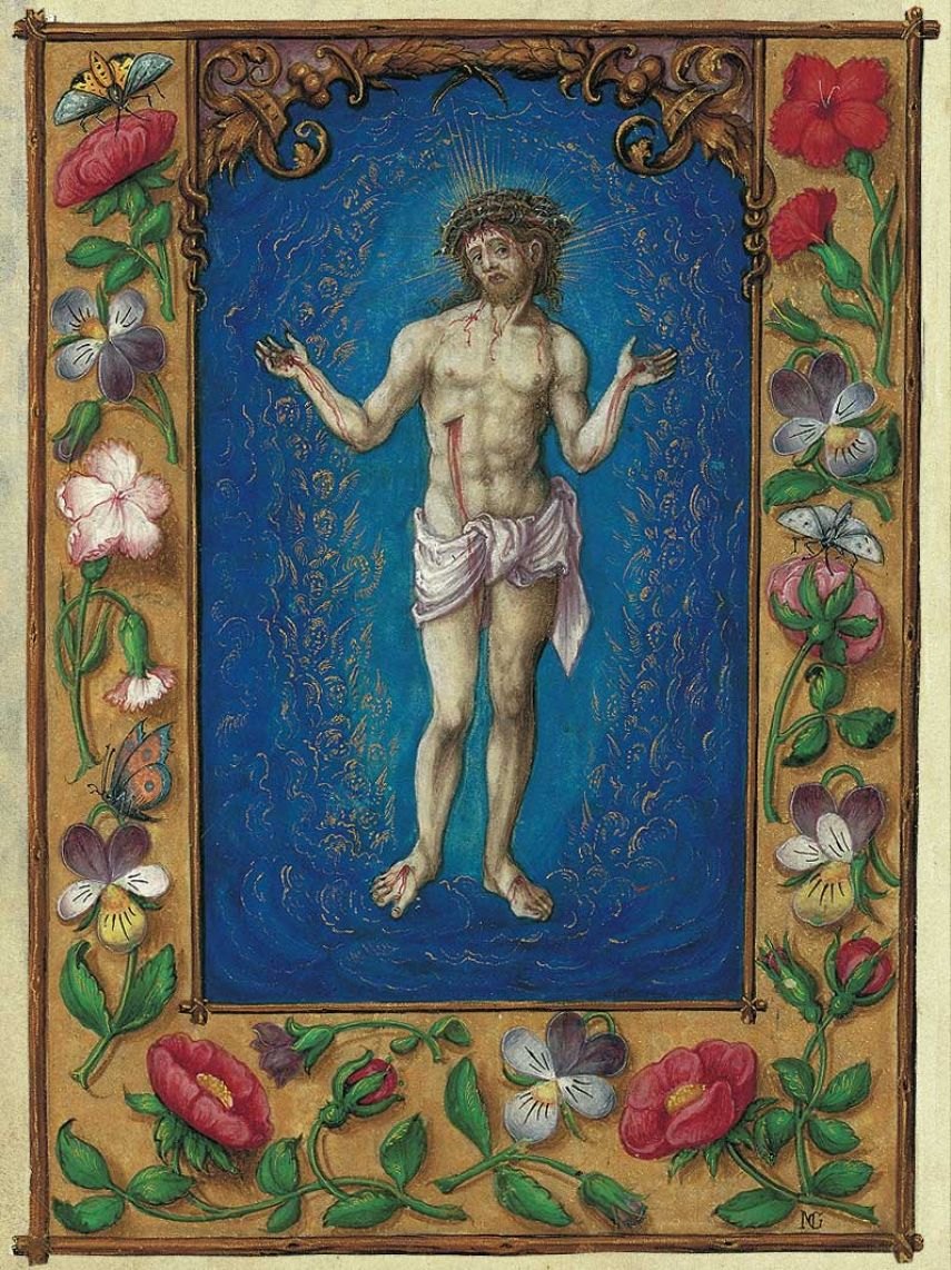Print: the Man of Sorrows from the Prayer Book of Albert of Brandenburg 1 identical illumination