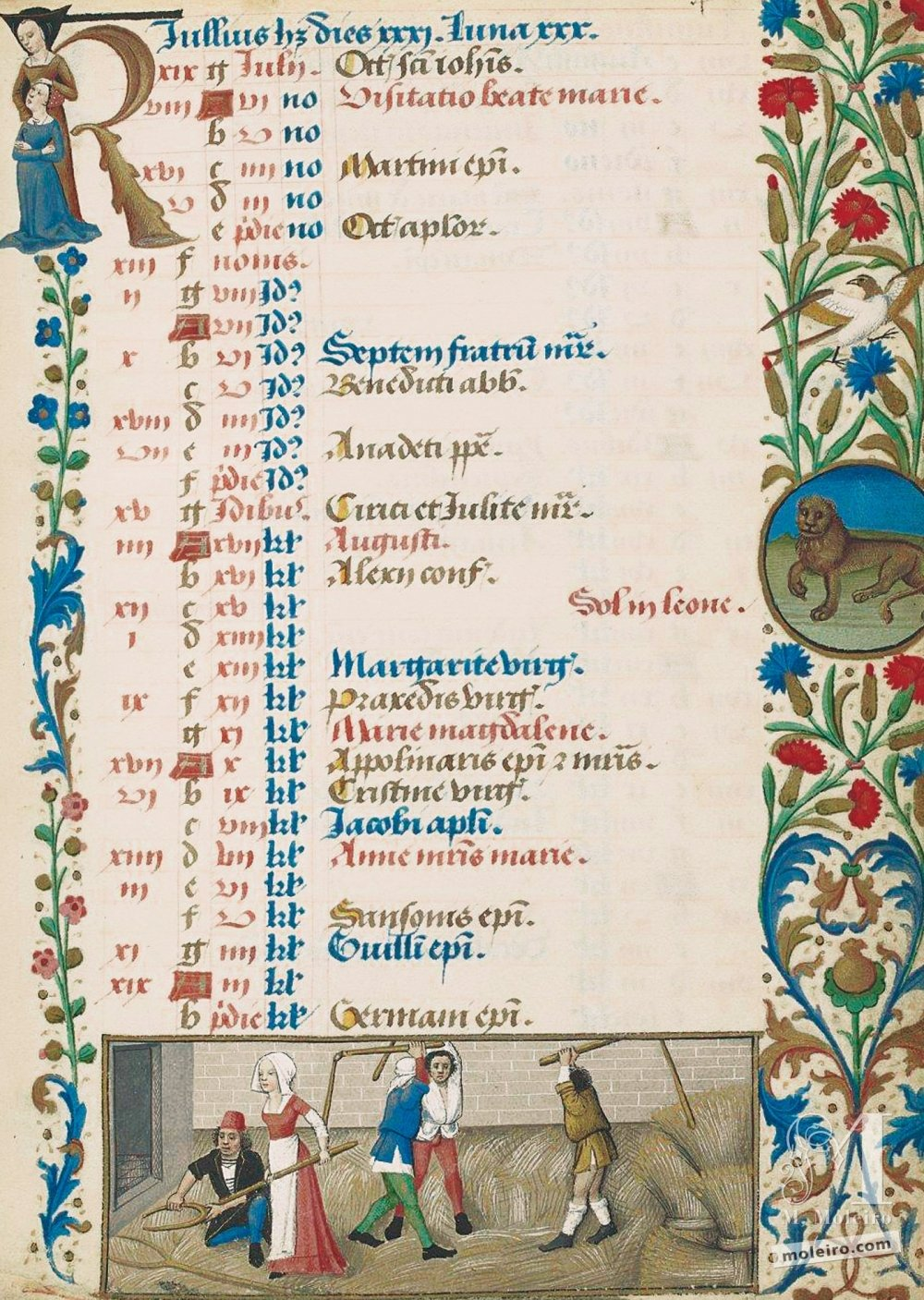 The Hours of Charles of Angoulême Calendar: July (f. 4r)