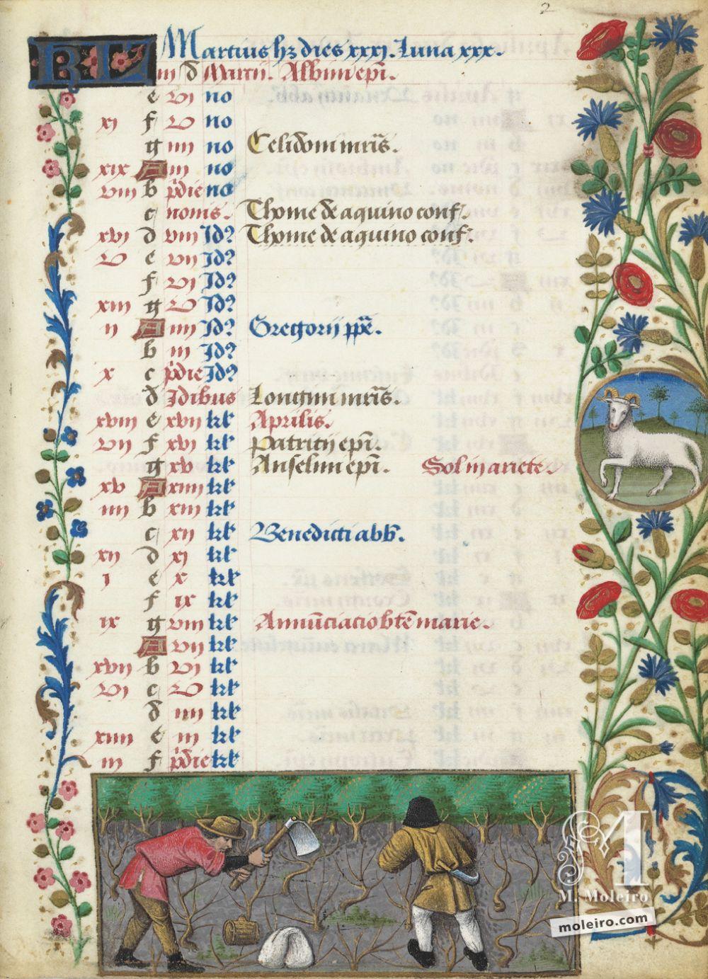 Libro de horas de Carlos de Angulema Calendario: marzo,la poda de la vid (f. 2r)