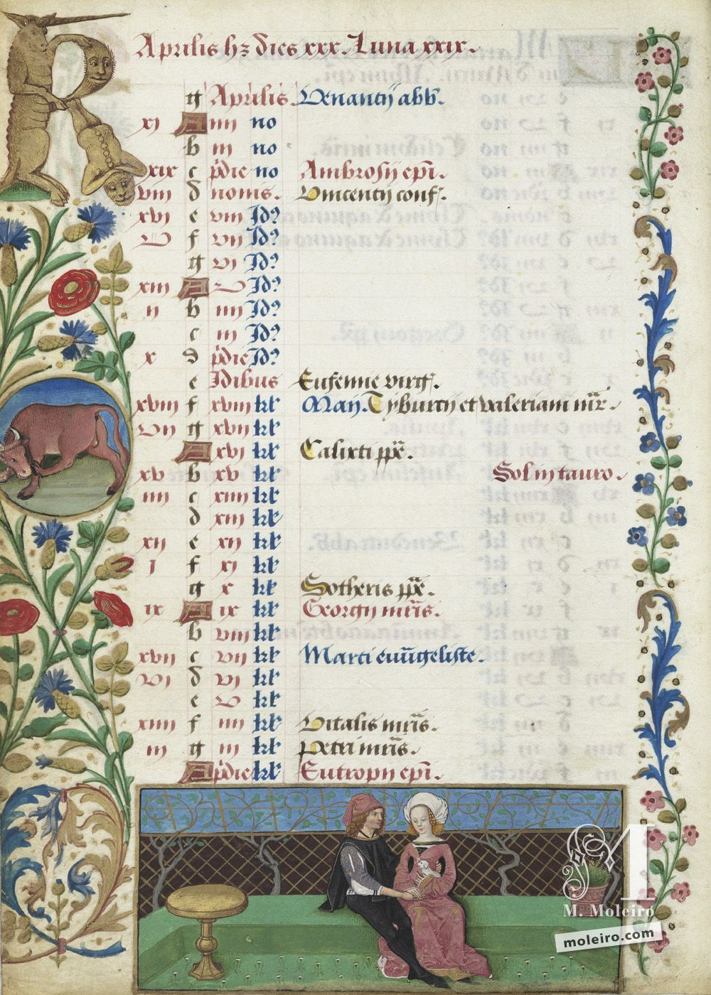 The Hours of Charles of Angoulême Calendar: April (f. 2v)