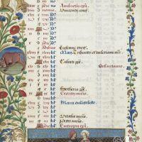 Calendario: abril,una pareja de enamorados en un jardín cercado (f. 2v)
