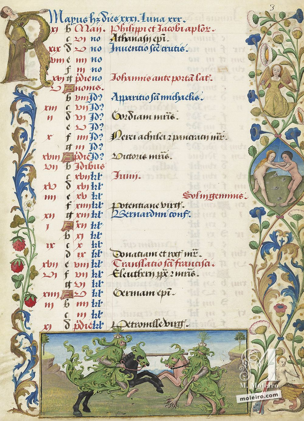 The Hours of Charles of Angoulême Calendar: May (f. 3r)