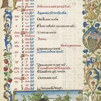 Calendario: mayo,Justa de dos caballeros/hombres salvajes (f. 3r)
